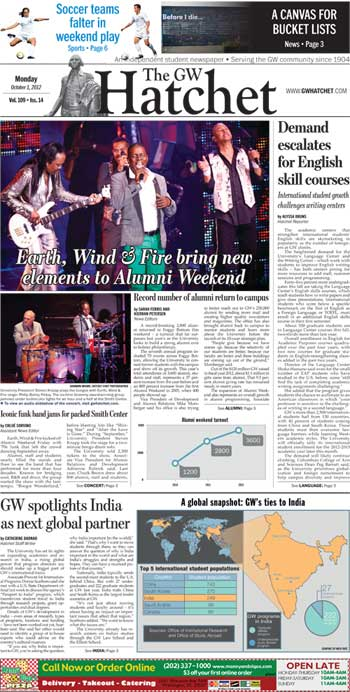 Front page for Oct. 1, 2012
