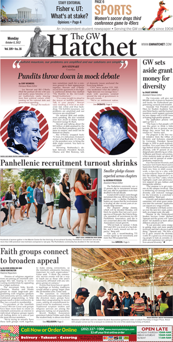 Front page for Oct. 8, 2012