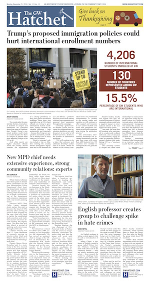 Front page for Nov. 21, 2016